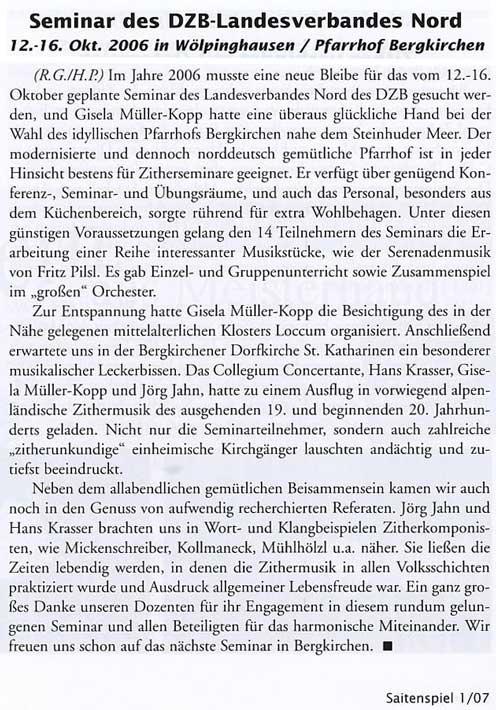Seminar des DZB-Landesverbandes Nord, 12.-16. Oktober 2006 in Wölpinghausen / Pfarrhof Bergkirchen